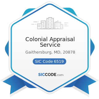 Colonial Appraisal Service - SIC Code 6519 - Lessors of Real Property, Not Elsewhere Classified
