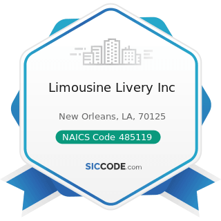 Limousine Livery Inc - NAICS Code 485119 - Other Urban Transit Systems