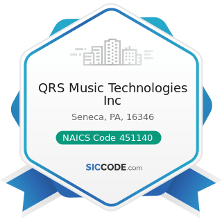 QRS Music Technologies Inc - NAICS Code 451140 - Musical Instrument and Supplies Stores