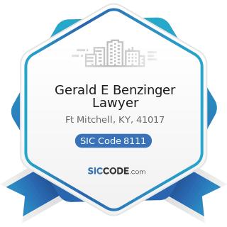 Gerald E Benzinger Lawyer - SIC Code 8111 - Legal Services