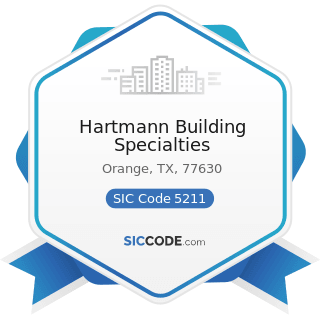 Hartmann Building Specialties - SIC Code 5211 - Lumber and other Building Materials Dealers