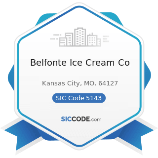Belfonte Ice Cream Co - SIC Code 5143 - Dairy Products, except Dried or Canned