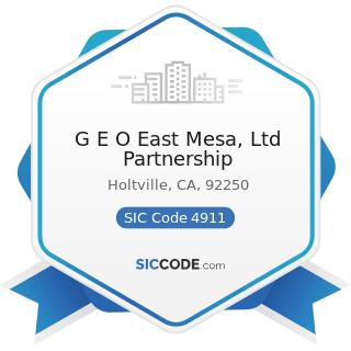 G E O East Mesa, Ltd Partnership - SIC Code 4911 - Electric Services