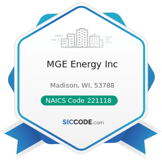 MGE Energy Inc - NAICS Code 221118 - Other Electric Power Generation
