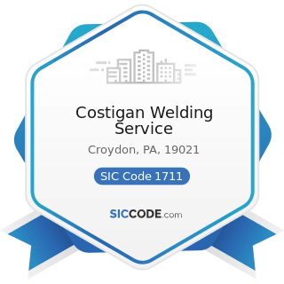 Costigan Welding Service - SIC Code 1711 - Plumbing, Heating and Air-Conditioning