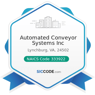 Automated Conveyor Systems Inc - NAICS Code 333922 - Conveyor and Conveying Equipment...