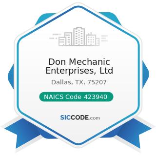 Don Mechanic Enterprises, Ltd - NAICS Code 423940 - Jewelry, Watch, Precious Stone, and Precious...