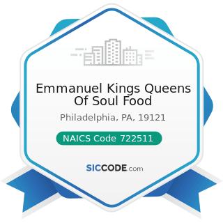 Emmanuel Kings Queens Of Soul Food - NAICS Code 722511 - Full-Service Restaurants