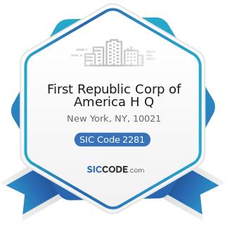 First Republic Corp of America H Q - SIC Code 2281 - Yarn Spinning Mills