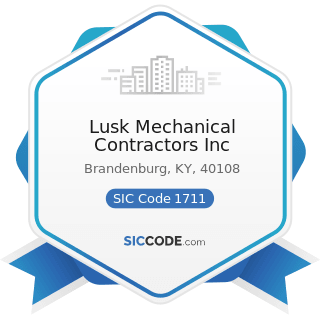 Lusk Mechanical Contractors Inc - SIC Code 1711 - Plumbing, Heating and Air-Conditioning