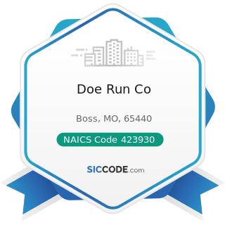 Doe Run Co - NAICS Code 423930 - Recyclable Material Merchant Wholesalers