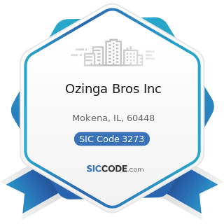 Ozinga Bros Inc - SIC Code 3273 - Ready-Mixed Concrete