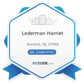 Lederman Harriet - SIC Code 0742 - Veterinary Services for Animal Specialties