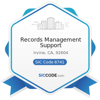 Records Management Support - SIC Code 8741 - Management Services