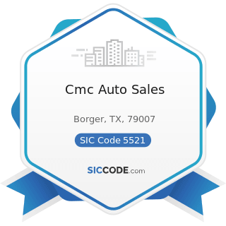 Cmc Auto Sales - SIC Code 5521 - Motor Vehicle Dealers (Used Only)