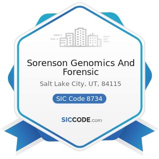 Sorenson Genomics And Forensic - SIC Code 8734 - Testing Laboratories