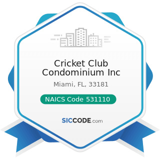 Cricket Club Condominium Inc - NAICS Code 531110 - Lessors of Residential Buildings and Dwellings
