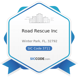 Road Rescue Inc - SIC Code 3711 - Motor Vehicles and Passenger Car Bodies