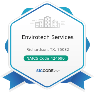 Envirotech Services - NAICS Code 424690 - Other Chemical and Allied Products Merchant Wholesalers