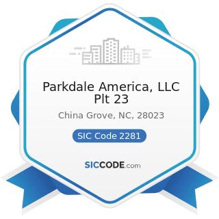 Parkdale America, LLC Plt 23 - SIC Code 2281 - Yarn Spinning Mills