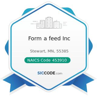 Form a feed Inc - NAICS Code 453910 - Pet and Pet Supplies Stores