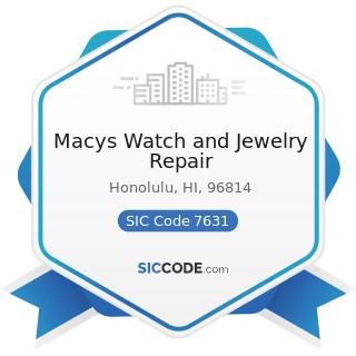 Macys Watch and Jewelry Repair - SIC Code 7631 - Watch, Clock, and Jewelry Repair