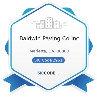 Baldwin Paving Co Inc - SIC Code 2951 - Asphalt Paving Mixtures and Blocks