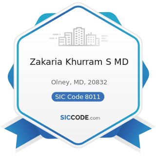 Zakaria Khurram S MD - SIC Code 8011 - Offices and Clinics of Doctors of Medicine