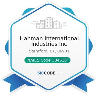 Hahman International Industries Inc - NAICS Code 334516 - Analytical Laboratory Instrument...