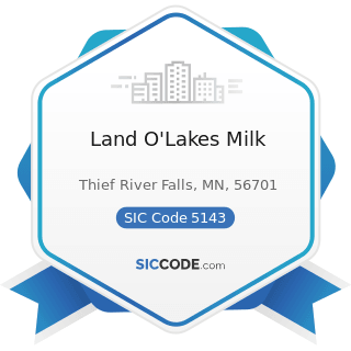Land O'Lakes Milk - SIC Code 5143 - Dairy Products, except Dried or Canned