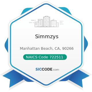 Simmzys - NAICS Code 722511 - Full-Service Restaurants
