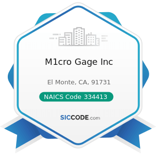 M1cro Gage Inc - NAICS Code 334413 - Semiconductor and Related Device Manufacturing