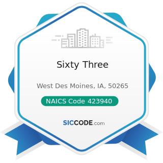 Sixty Three - NAICS Code 423940 - Jewelry, Watch, Precious Stone, and Precious Metal Merchant...