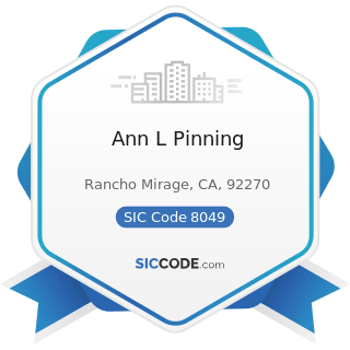 Ann L Pinning - SIC Code 8049 - Offices and Clinics of Health Practitioners, Not Elsewhere...