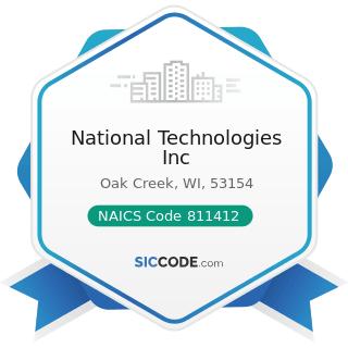National Technologies Inc - NAICS Code 811412 - Appliance Repair and Maintenance