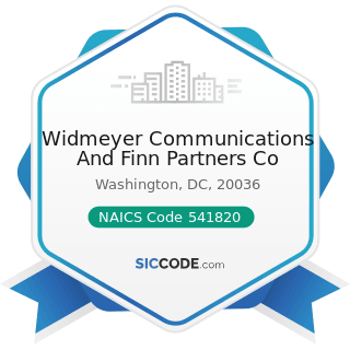 Widmeyer Communications And Finn Partners Co - NAICS Code 541820 - Public Relations Agencies
