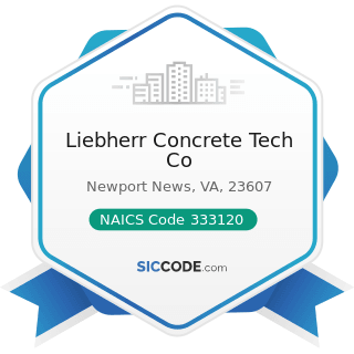 Liebherr Concrete Tech Co - NAICS Code 333120 - Construction Machinery Manufacturing