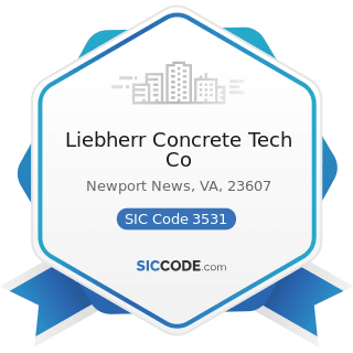 Liebherr Concrete Tech Co - SIC Code 3531 - Construction Machinery and Equipment