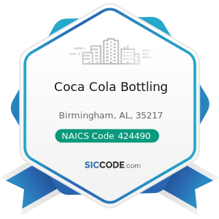 Coca Cola Bottling - NAICS Code 424490 - Other Grocery and Related Products Merchant Wholesalers
