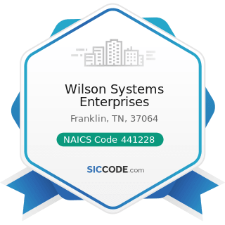 Wilson Systems Enterprises - NAICS Code 441228 - Motorcycle, ATV, and All Other Motor Vehicle...