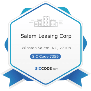 Salem Leasing Corp - SIC Code 7359 - Equipment Rental and Leasing, Not Elsewhere Classified