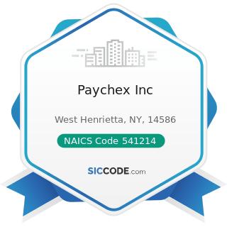 Paychex Inc - NAICS Code 541214 - Payroll Services
