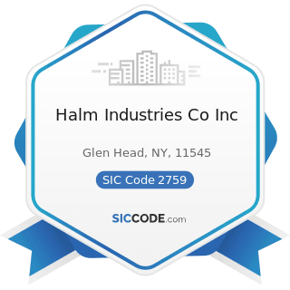 Halm Industries Co Inc - SIC Code 2759 - Commercial Printing, Not Elsewhere Classified