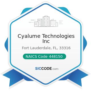 Cyalume Technologies Inc - NAICS Code 448150 - Clothing Accessories Stores