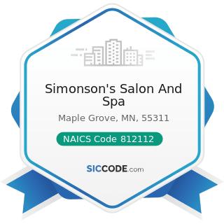 Simonson's Salon And Spa - NAICS Code 812112 - Beauty Salons