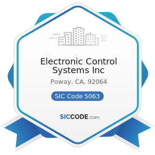Electronic Control Systems Inc - SIC Code 5063 - Electrical Apparatus and Equipment Wiring...