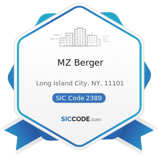 MZ Berger - SIC Code 2389 - Apparel and Accessories, Not Elsewhere Classified