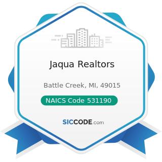 Jaqua Realtors - NAICS Code 531190 - Lessors of Other Real Estate Property