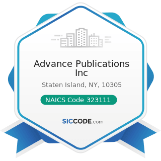 Advance Publications Inc - NAICS Code 323111 - Commercial Printing (except Screen and Books)