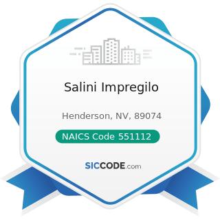 Salini Impregilo - NAICS Code 551112 - Offices of Other Holding Companies